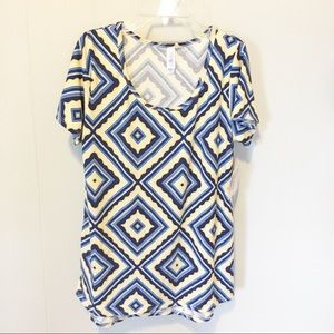 LuLaRoe Simply Comfortable Yellow/Blue Top Small